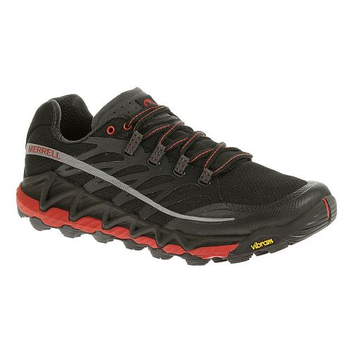 Mens Merrell All Out Peak Trail Running Shoe - Black/Red 8