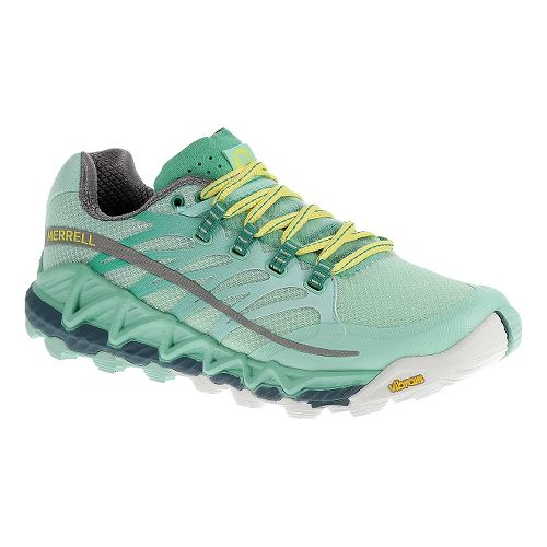 Womens Merrell All Out Peak Trail Running Shoe - Sea Green/Yellow 5