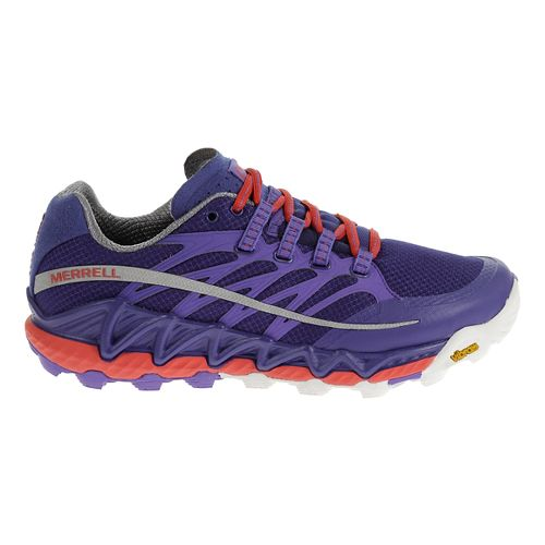 Womens Merrell All Out Peak Trail Running Shoe - Royal Blue/Orange 10.5