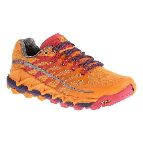 Womens Merrell All Out Peak Trail Running Shoe - Royal Blue/Orange 8.5