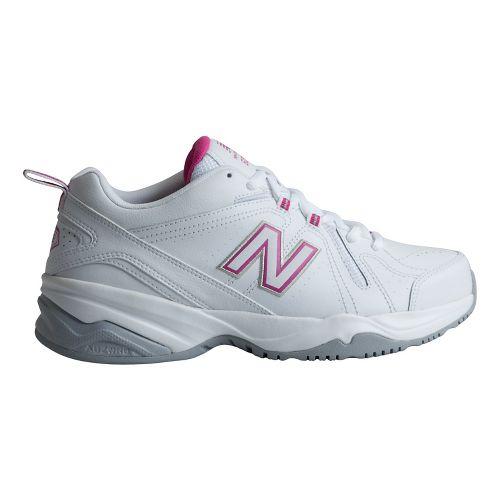 Womens New Balance 608v4 Cross Training Shoe - White/Pink 8.5