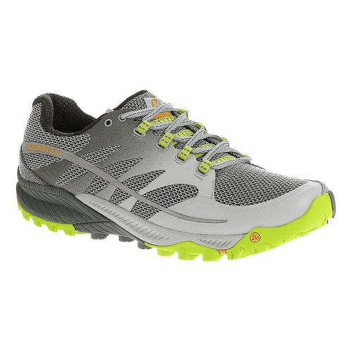 Mens Merrell All Out Charge Trail Running Shoe - Gray/Lime 10.5