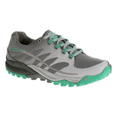 Womens Merrell All Out Charge Trail Running Shoe - Grey/Green 5