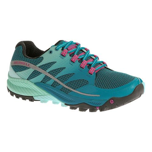 Womens Merrell All Out Charge Trail Running Shoe - Aqua/Pink 5.5