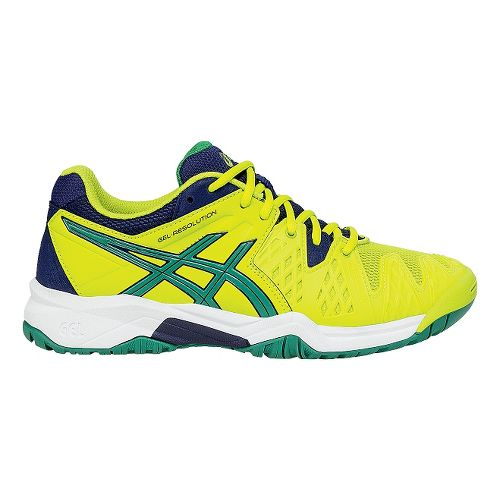Kids ASICS GEL-Resolution 6 Court Shoe - Lime/Blue 6.5Y