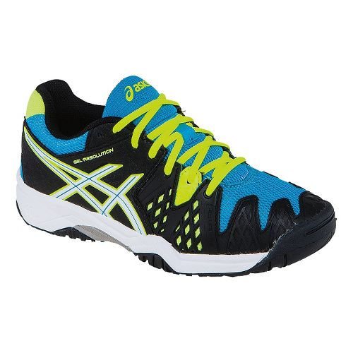 Kids ASICS GEL-Resolution 6 GS Court Shoe - Onyx/Atomic Blue 4.5