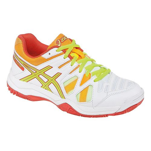 Kids ASICS GEL-Game 5 GS Court Shoe - White/Hot Coral 6