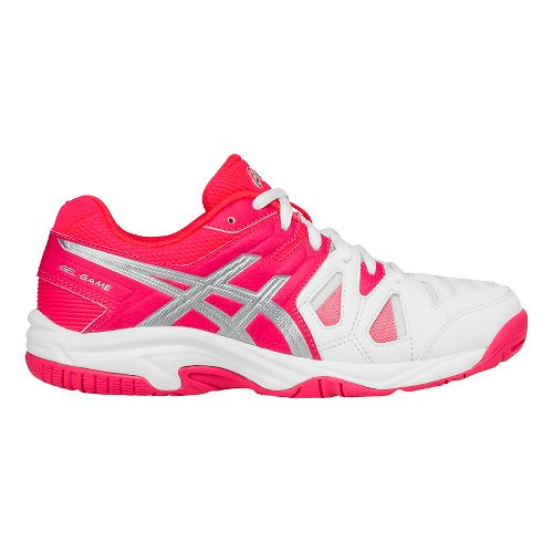 ASICS Kids GEL-Game 5 Court Shoe - White/Pink/Silver 6.5