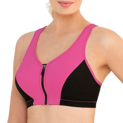 Womens Glamorise High Impact Zipper Front Sports Bras - Pink 32G