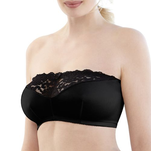 Womens Glamorise Complete Comfort Strapless Bandeau B/C/D Inner Bras - Black 38-B/C/D