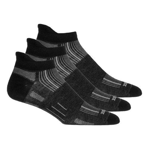 Wrightsock Stride No Show Tab 3 pack Socks - Light Grey/Blue L