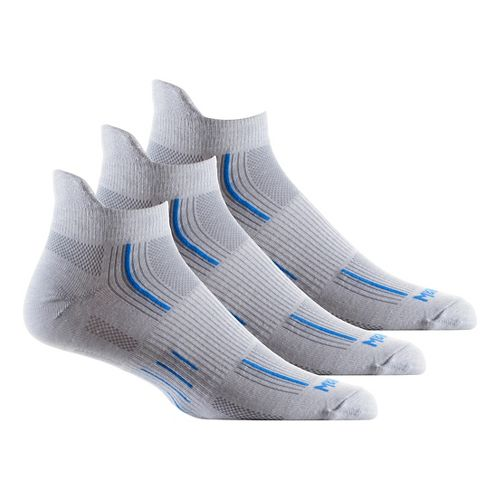 Wrightsock Stride No Show Tab 3 pack Socks - Light Grey/Blue L