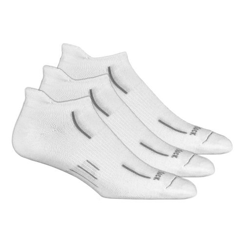 Wrightsock Stride No Show Tab 3 pack Socks - White M