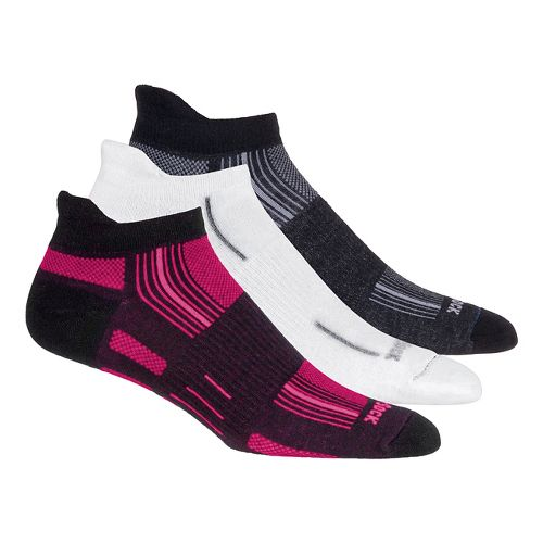 Wrightsock Stride No Show Tab 3 pack Socks - White/Neon Pnk L