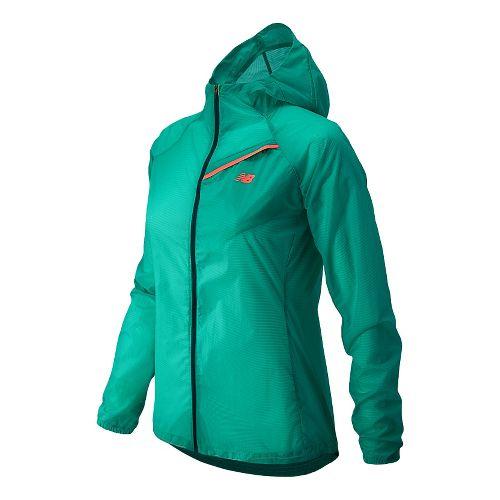 Womens New Balance Ultra Warm Up Hooded Jackets - Vital Green XS