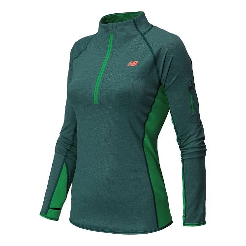 Womens New Balance Ultra Long Sleeve Half Zip Technical Top - Tropical Gr Heather L ...
