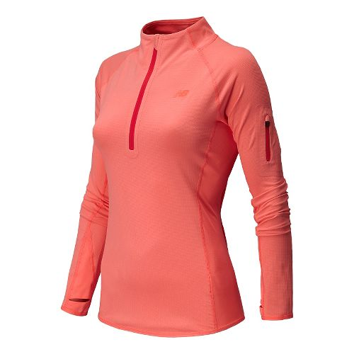 Womens New Balance Ultra Long Sleeve Half Zip Technical Top - Fiji Heather S
