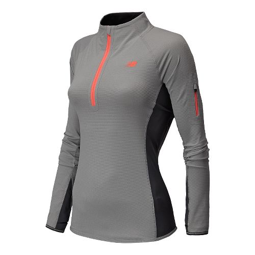 Womens New Balance Ultra Long Sleeve Half Zip Technical Top - Silver Mink Heather M ...