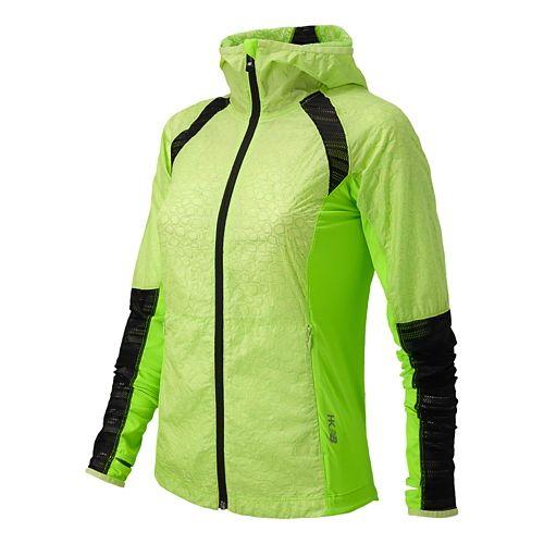 Womens New Balance Performance Warm Up Hooded Jackets - Wasabi L