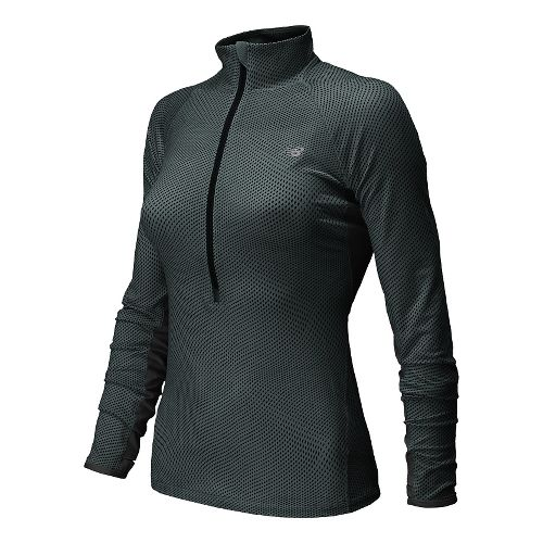 Womens New Balance Impact Graphic Long Sleeve Half Zip Technical Top - Black/Grey L