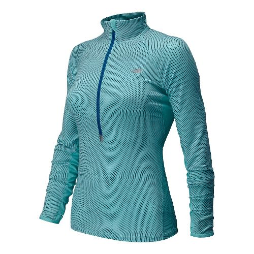 Womens New Balance Impact Graphic Long Sleeve Half Zip Technical Top - Seaspray S