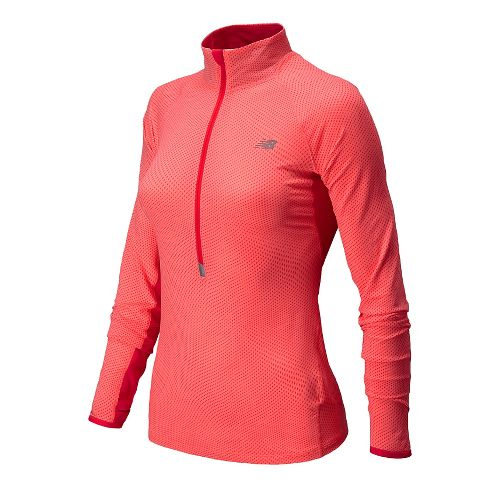 Womens New Balance Impact Graphic Long Sleeve Half Zip Technical Top - Fiji S