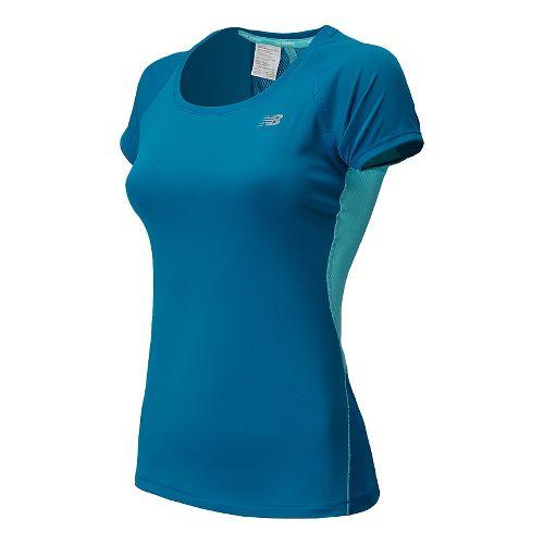 Womens New Balance Ice Short Sleeve Technical Top - Wave Blue S