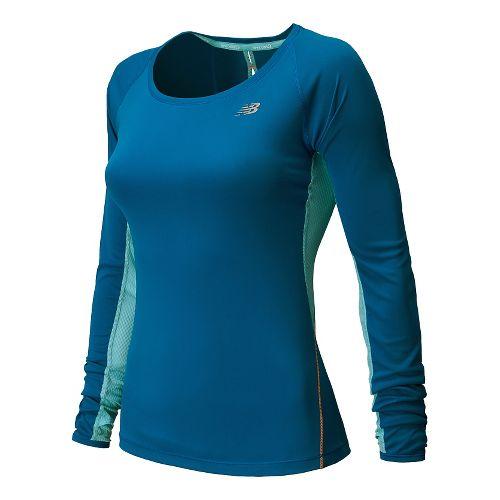 Womens New Balance Ice Long Sleeve No Zip Technical Top - Wave Blue XL