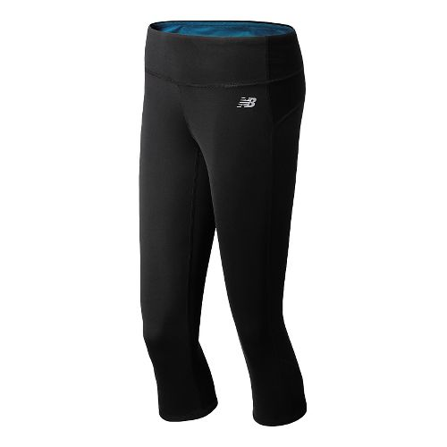Womens New Balance Achieve Reversible Capri Tights - Black/Wave Blue XS