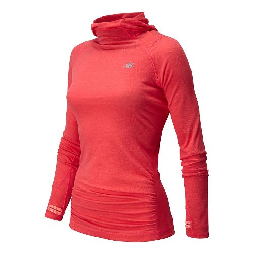 Womens New Balance Impact Warm Up Hooded Jackets - Br Cherry Heather L