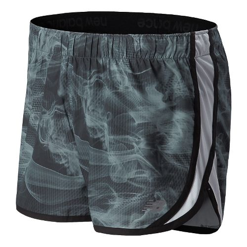 Womens New Balance Accelerate Graphic Split Shorts - Black/Grey L