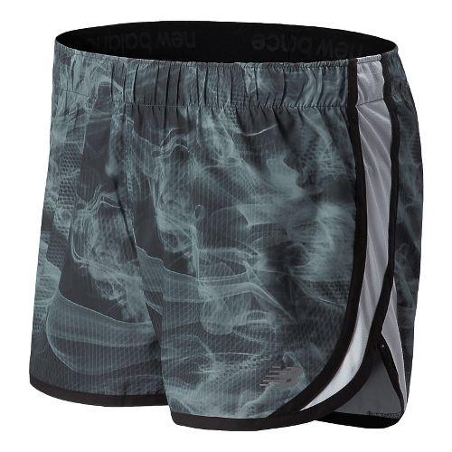 Womens New Balance Accelerate Graphic Split Shorts - Black/Grey M