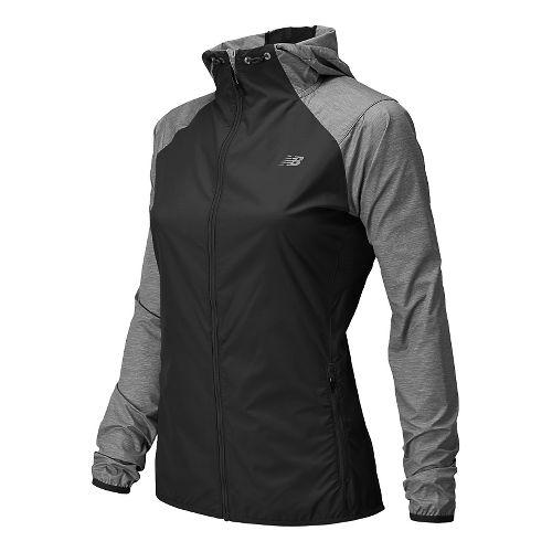 Womens New Balance Surface Run Warm Up Hooded Jackets - Black/Grey L