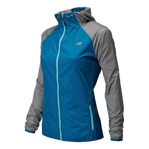Womens New Balance Surface Run Warm Up Hooded Jackets - Wave Blue L