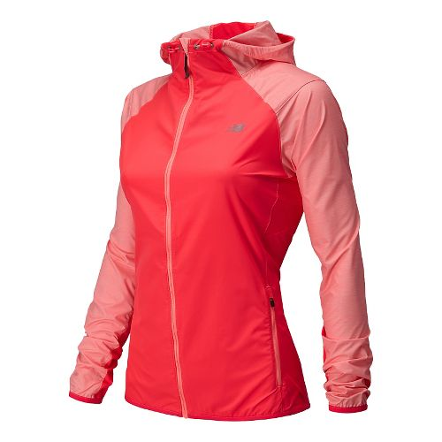 Womens New Balance Surface Run Warm Up Hooded Jackets - Bright Cherry L