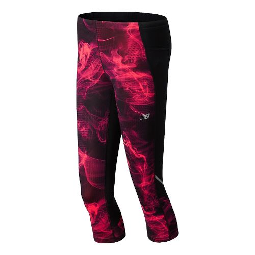 Womens New Balance Accelerate Printed Capri Tights - Bright Cherry XS
