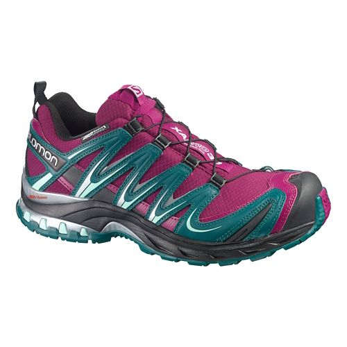 Womens Salomon XA Pro 3D CS WP Trail Running Shoe - Fuchsia/Blue 11