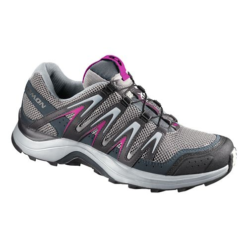 Womens Salomon XA Comp 7 CS WP Trail Running Shoe - Grey/Fuchsia 9.5