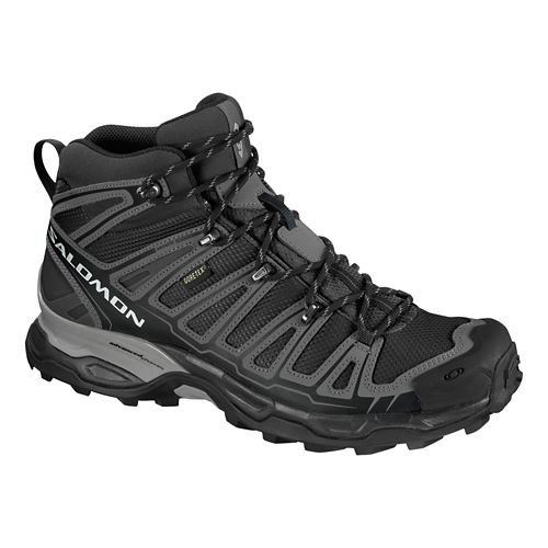 Mens Salomon X Ultra Mid GTX Hiking Shoe - Black/Grey 8.5