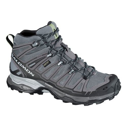 Womens Salomon X Ultra Mid GTX Hiking Shoe - Grey/Dark Cloud 10