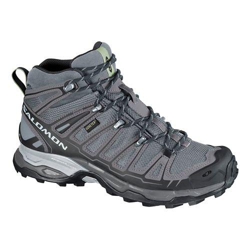 Womens Salomon X Ultra Mid GTX Hiking Shoe - Grey/Mystic Purple 5