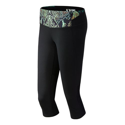 Womens New Balance Tech Capri Tights - Wasabi Print XS