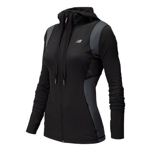 Womens New Balance Achieve Warm Up Hooded Jackets - Black M