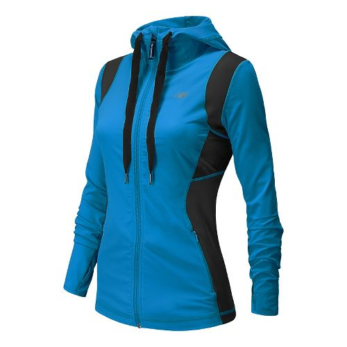Womens New Balance Achieve Warm Up Hooded Jackets - Wave Blue XS