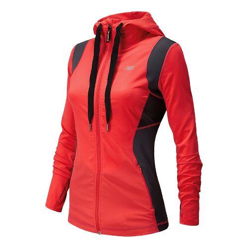 Womens New Balance Achieve Warm Up Hooded Jackets - Bright Cherry XL