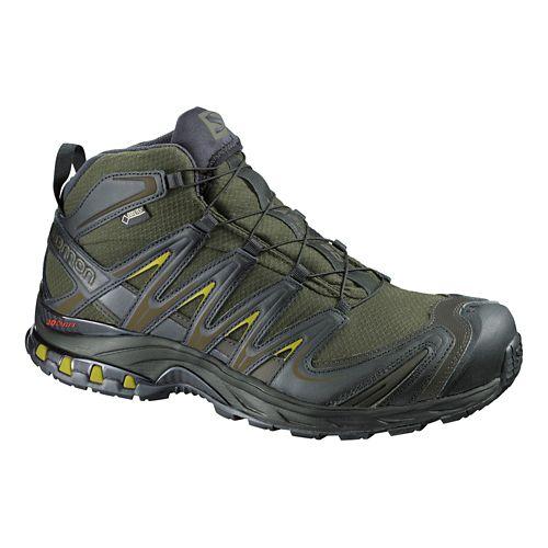 Mens Salomon XA Pro Mid GTX Hiking Shoe - Iguana Green/Black 10.5