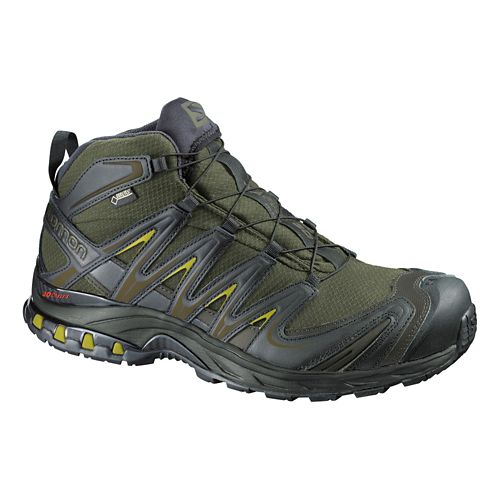 Mens Salomon XA Pro Mid GTX Hiking Shoe - Iguana Green/Black 11
