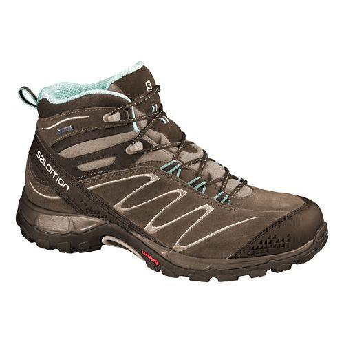 Womens Salomon Ellipse Mid LTR GTX Hiking Shoe - Burro/Igloo Blue 10