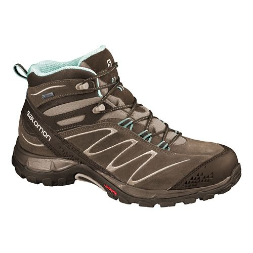 Womens Salomon Ellipse Mid LTR GTX Hiking Shoe - Burro/Igloo Blue 5