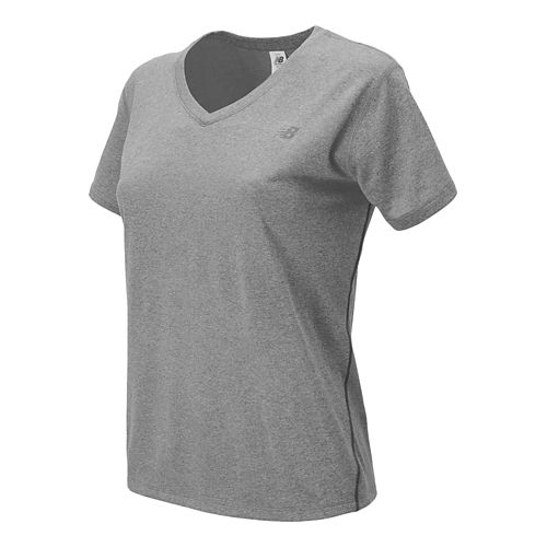 Womens New Balance Heathered V-Neck Short Sleeve Technical Top - Athletic Grey XS